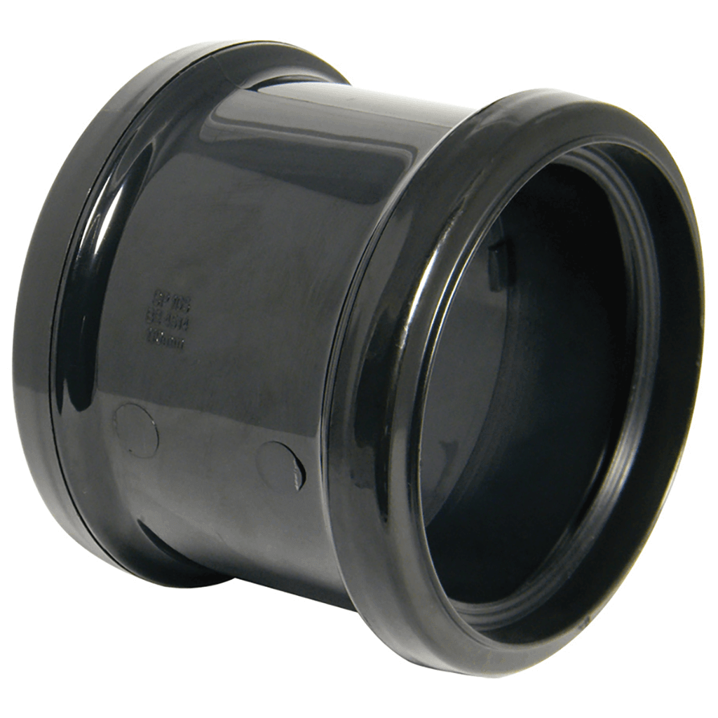 SOIL COUPLER DOUBLE SOCKET 110MM BLACK SH44B SP105BL