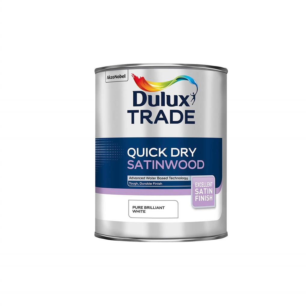 DULUX TRADE PAINT QUICK DRY SATINWOOD PURE BRILLIANT WHITE 1L