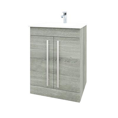 PURITY GREY ASH FLOOR STANDING CABINET 600MM /CERAMIC BASIN  FUR004PU/FUR057PU