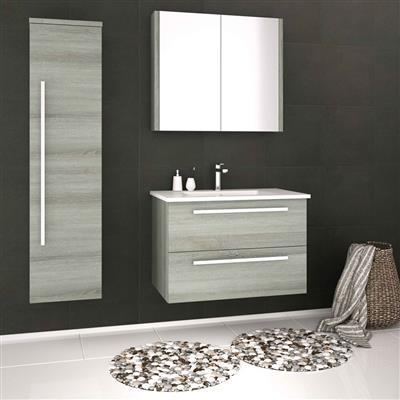 PURITY WALL HUNG DRAWER UNIT AND  CERAMIC BASIN 600MM GREY ASH FUR025PU/FUR057PU