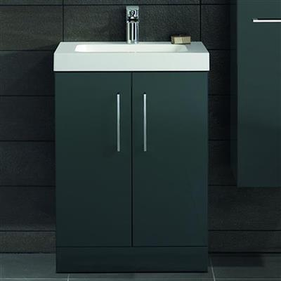 LOMOND 500 2 DOOR SLIM UNIT AND BASIN GLOSS ANTHRACITE 58704S 58700S