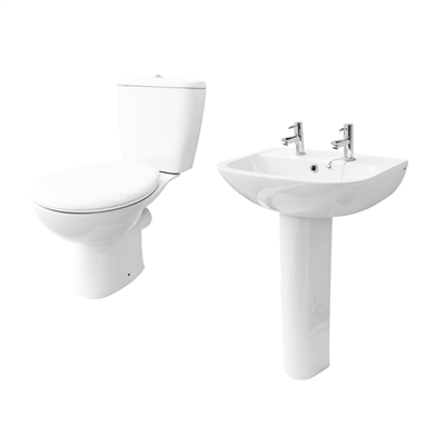 ATLAS SMOOTH CLOAKROOM SET  EXCLUDING TAPS