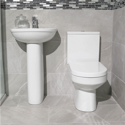 BIJOU  CLOAKROOM SET WHITE EXCLUDING TAPS AND WASTE