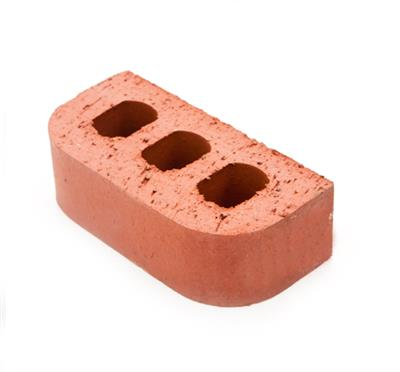 SPECIAL BRICK DOUBLE BULLNOSE RED 65MM PERFORATED BN2.2