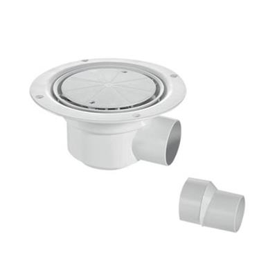 MCALPINE SHOWER GULLY ROUND WHITE FOR SHEET FLOORING HORIZONTAL OUTLET TSG1WH