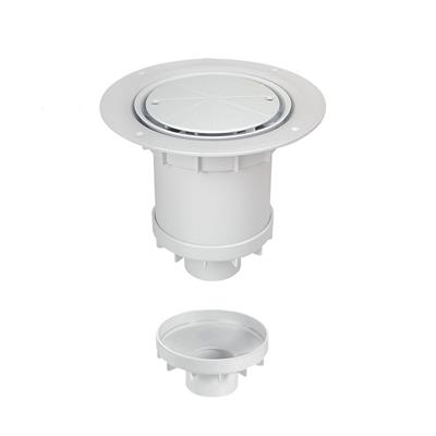 MCALPINE SHOWER GULLY ROUND WHITE FOR SHEET FLOORING VERTICAL OUTLET TSG2WH