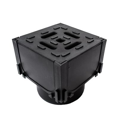 ACO HEXDRAIN CORNER UNIT WITH BLACK PLASTIC GRATING & VERTICAL OUTLET 125x125x125MM