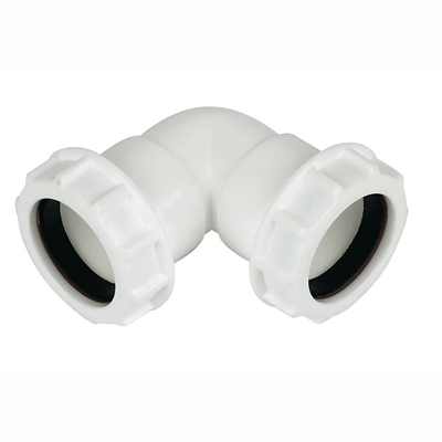 COMPRESSION WASTE KNUCKLE BEND 40MM 90DEGREE WHITE PS16 WC11W