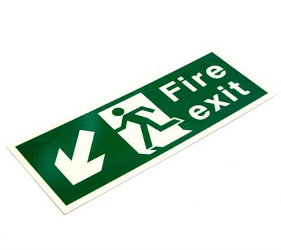 PHOTOLUMINESCENT FIRE SAFETY SIGNAGE PP.08L FIRE EXIT DOWN LEFT ARROW 400x150