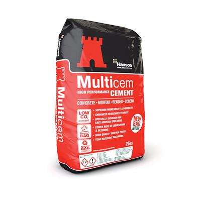 MULTICEM CEMENT 25KG BAG HANSON (IN PLASTIC BAGS ) CAN BE STORED OUTSIDE