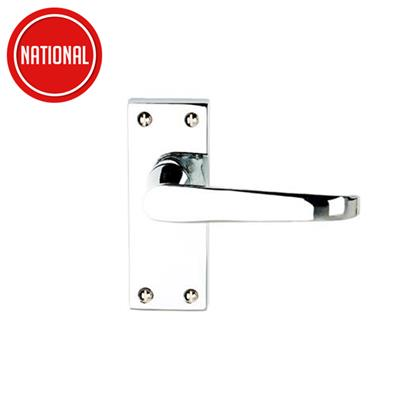 DOOR HANDLES VICTORIAN FLAT LATCH POLISHED CHROME PLATED DH008221 DALE HARDWARE