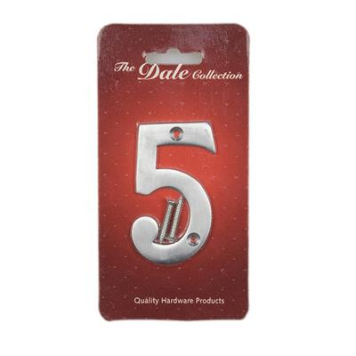 NUMERAL NUMBER 5 SATIN CHROME PLATED REF DH009405 DALE HARDWARE