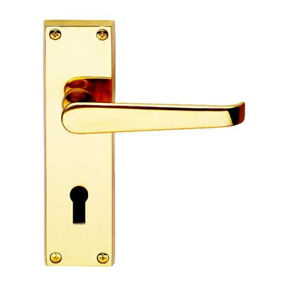DOOR HANDLE LOCK VICTORIAN (CLAM) POLISHED BRASS REF DH055210 DALE HARDWARE
