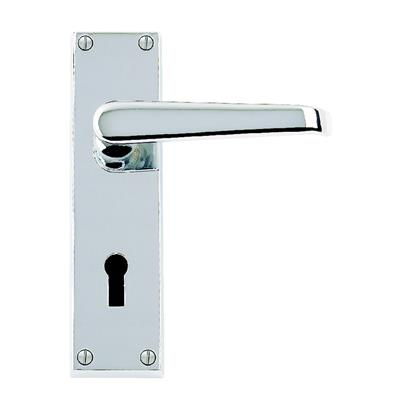 DOOR HANDLES VICTORIAN FLAT LEVER LOCK POLISHED CHROME PLATED REF DH058210