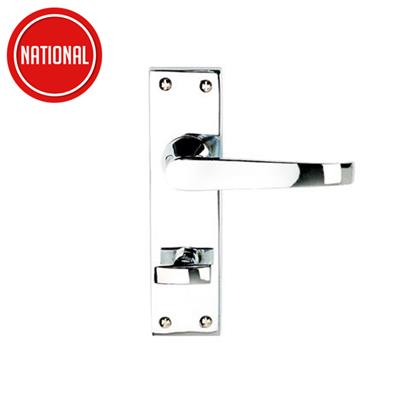 DOOR HANDLES BATHROOM VICTORIAN FLAT LEVER POLISHED CHROME PLATED REF DH058212