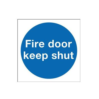 SIGN FIRE DOOR KEEP SHUT PVC 70X70MM S/A (PR) REF FB141 DALE HARDWARE