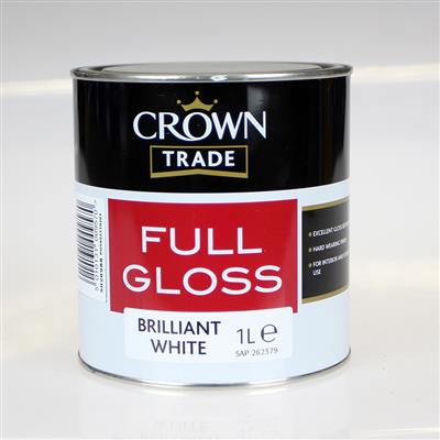 CROWN TRADE PAINT FULL GLOSS BRILLIANT WHITE 1L