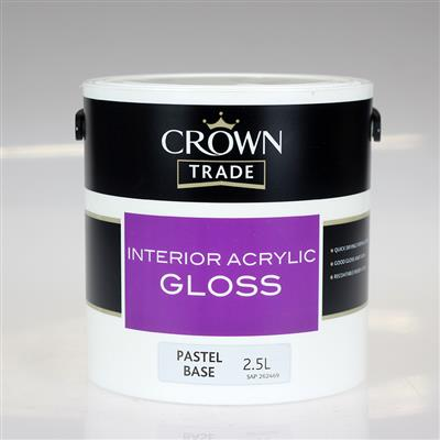 CROWN PAINT TRADE INTERIOR ACRYLIC GLOSS BASE PASTEL 2.5LTR COLOUR