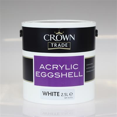 CROWN TRADE PAINT ACRYLIC EGGSHELL WHITE 2.5L