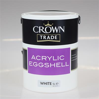 CROWN TRADE PAINT ACRYLIC EGGSHELL WHITE 5L