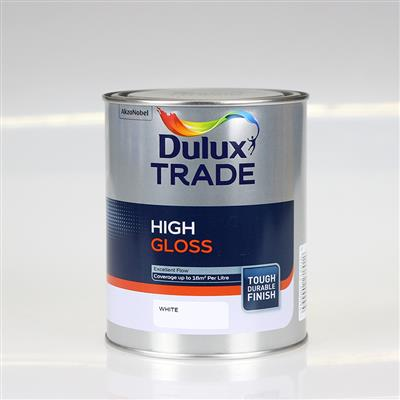 DULUX TRADE PAINT HIGH GLOSS WHITE 1L