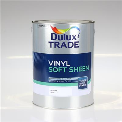 DULUX PAINT TRADE VINYL SOFT SHEEN MEDIUM BASE 5L COLOUR