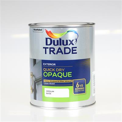 DULUX PAINT TRADE QUICK DRY OP AQUE MEDIUM BASE 1L COLOUR