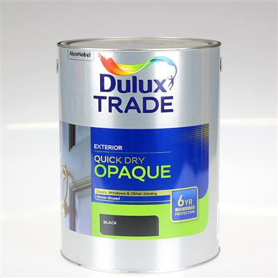 DULUX TRADE PAINT QUICK DRY OPAQUE BLACK 5L