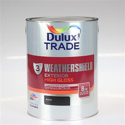 DULUX TRADE PAINT WEATHERSHIELD GLOSS BLACK 5L