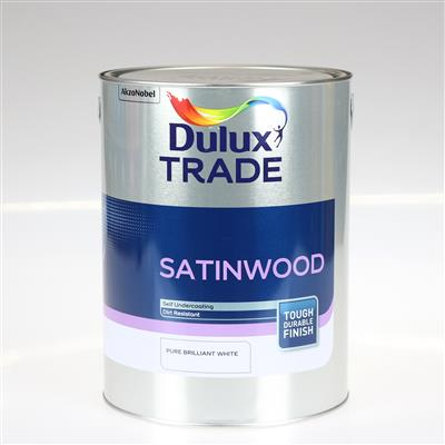 DULUX TRADE PAINT SATINWOOD PURE BRILLIANT WHITE 5L