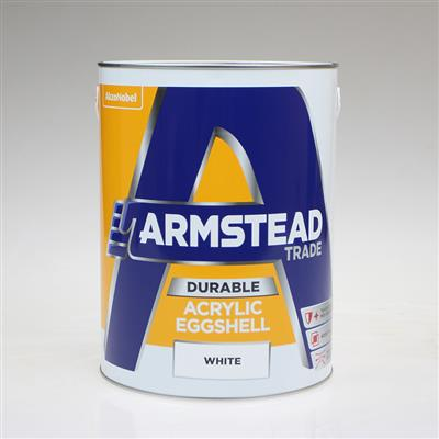 ARMSTEAD TRADE PAINT DURABLE ACRYLIC EGGSHELL WHITE 5L