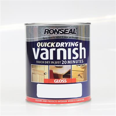 RONSEAL INTERIOR VARNISH MEDIUM OAK GLOSS 750ML QUICK DRYING