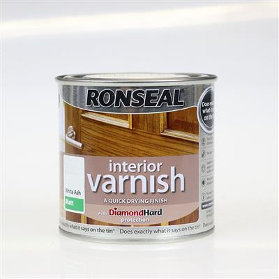 RONSEAL INTERIOR VARNISH WHITE ASH MATT 250ML QUICK DRYING