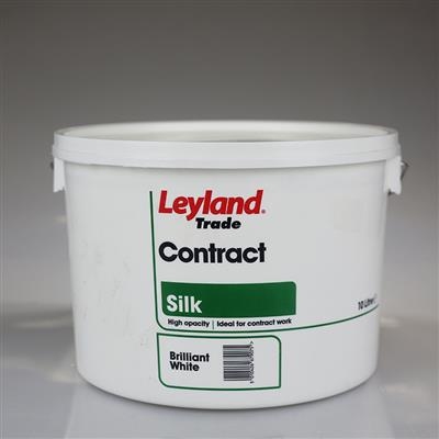 LEYLAND PAINT CONTRACT SILK BRILLIANT WHITE 10LTR