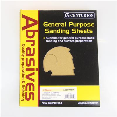 CENTURION ASSORTED SANDPAPER 5 SHEETS