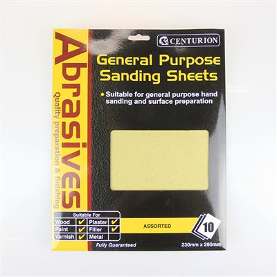CENTURION ASSORTED SANDPAPER 10 SHEETS