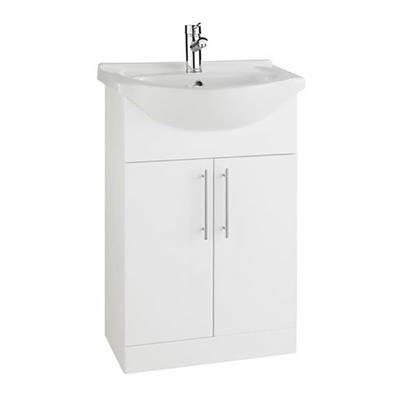 VANITY UNIT 550MM COMPLETE WITH 1 TAPHOLE BASIN IN GLOSS WHITE HD RWF55BASIN AND RWF55UNIT