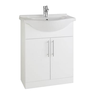 VANITY UNIT 650MM C/W 1 TAPHOLE BASIN IN GLOSS WHI RWF65 UNIT AND RWF65 BASIN