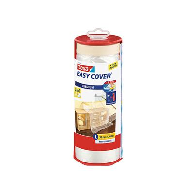 MASKING TAPE WITH PLASTIC FILM IN DISPENSER LARGE 33M LONG 1.4M DROP TESA EASYCOVER