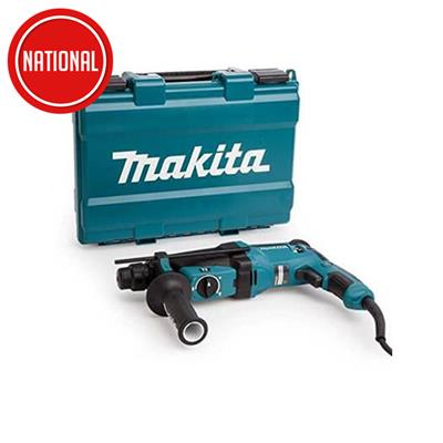 MAKITA HR2630 ROTARY SDS PLUS HAMMER DRILL 2KG 240V WITH FOC D-42357 3 PIECE CHISEL SET