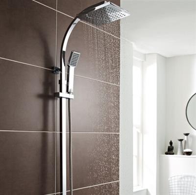 PURE BAR SHOWER SQUARE HEAD  WITH DRENCHER AND SLIDING HANDSET
